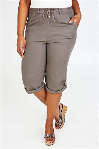 Taupe Linen Mix Roll-Up Cropped Trousers With Stitch Detail
