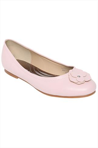 Pink Ballerina Pump With Flower Detail In EEE Fit