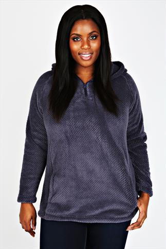 Grey Plain Textured Hooded Fleece Jacket