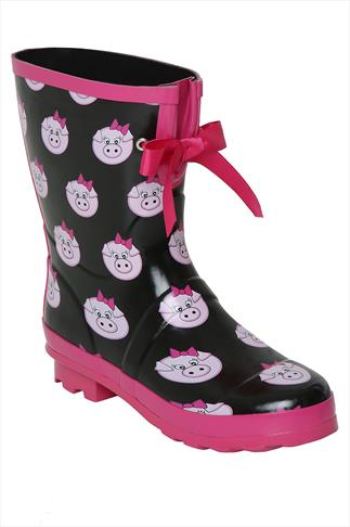 Black & Pink Pig Print Patent Short Wellies In EEE Fit