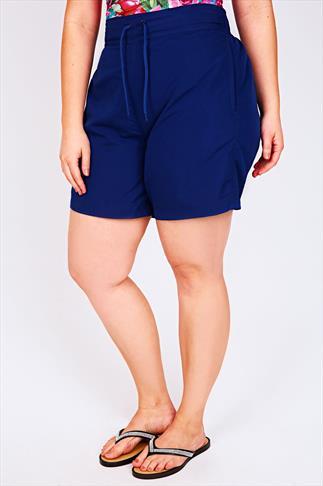 Blue Board Shorts With Drawstring Waist