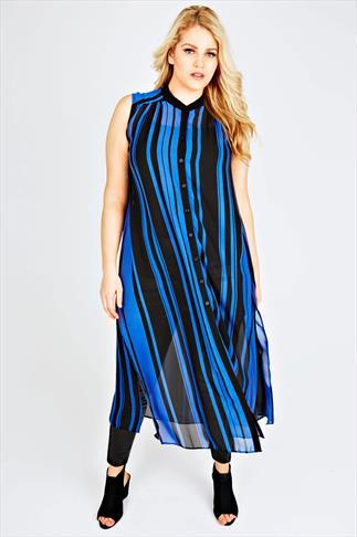 Black & Blue Stripe Maxi Length Button Down Sleeveless Shirt