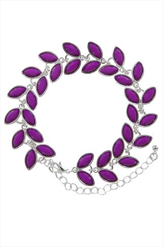 "Silver And Purple Leaf Bracelet With 3.5"" Extension Chain"