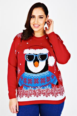 Red Knitted Penguin Novelty Christmas Jumper