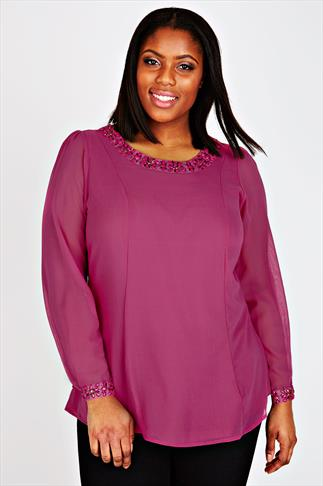 Magenta Pink Long Sleeve Swing Blouse With Embellished Neck & Cut Out Back