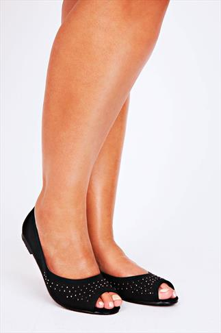 Black Peep Toe Ballerina Pumps With Diamante And Cut Out Detail In EEE Fit