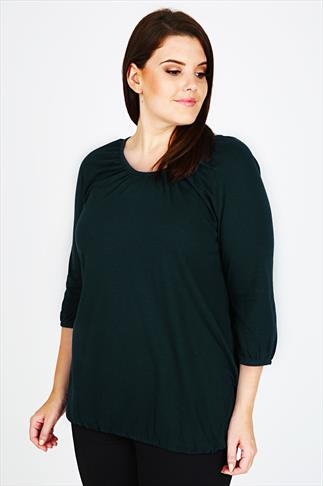 Teal 3/4 Sleeve Top With Bubble Hem
