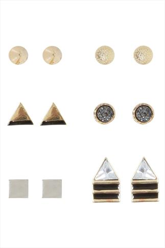 Gold Assorted Stud Earring - 6 Pair Pack