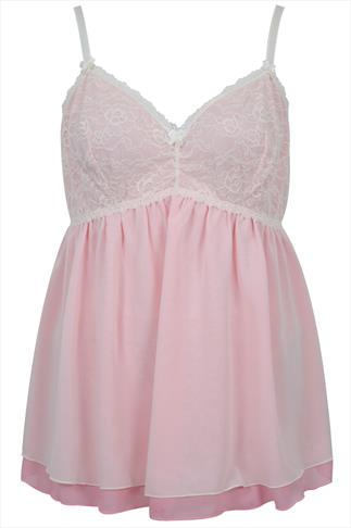 Pink & Cream Chiffon Babydoll And Thong Set With Lace Detail