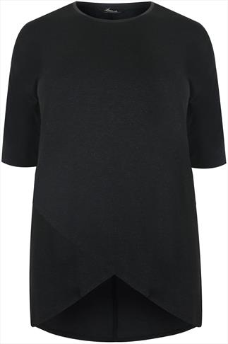 Black Longline Wrap Over Top With Metallic Detail