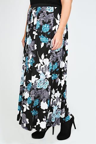 Black & Blue Rose Print Maxi Skirt With Elasticated Waist