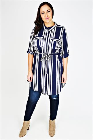 Navy And Ivory Striped Shirt Tunic With Tie Waist