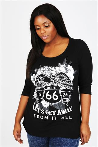 "Black ""Route 66"" Print Top With 3/4 Length Sleeves"
