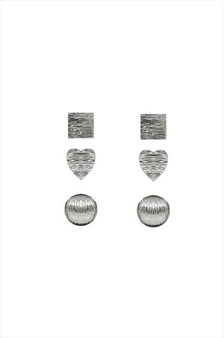 Silver Square, Heart & Circle Stud Earrings 3 Pack