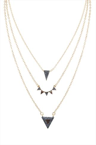 Gold Layered Traingle Pendant Necklace