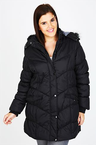 Black Quilted Puffa Coat With Faux Fur Trim Hood
