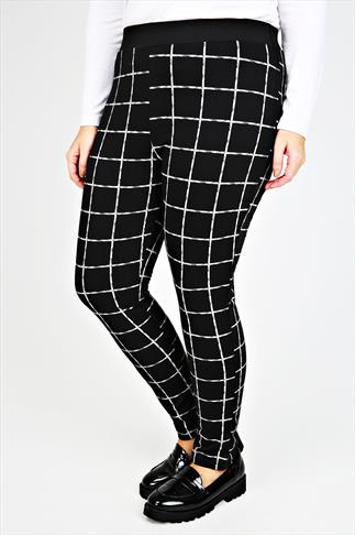 Black & White Check Ponte Jeggings With Elasticated Waist
