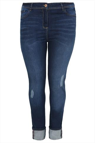 Mid Blue Distressed Denim Straight Leg Jean