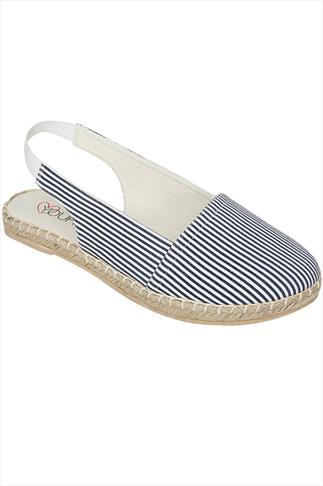Navy & White Striped Slingback Canvas Espadrilles In EEE Fit