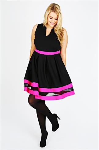 Black & Pink  Mesh Stripe Skater Dress