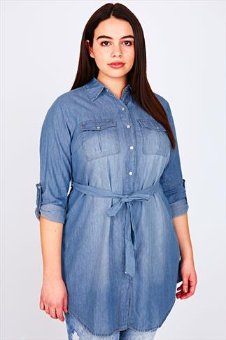 Blue Light Wash Denim Longline Shirt With Waist Tie