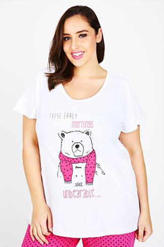 White Bear Print Pyjama Top