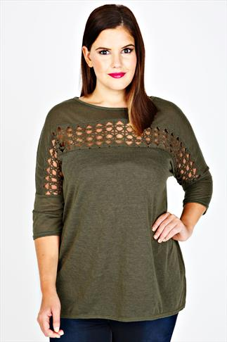 Khaki Slouch Fit Jersey Top With Crochet Cut Out Panel