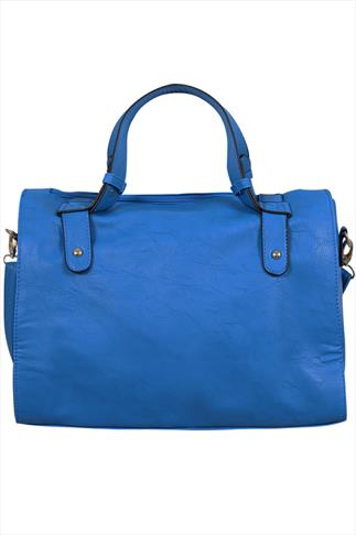 Cobalt Blue studded Tote Bag With Zip Pocket Front