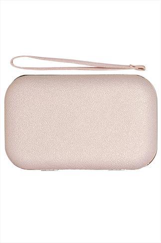 Nude Pink Metallic Hardcase zip around box clutch With Wristlet