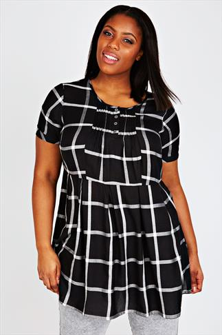 Black & White Checked Empire Line Longline Top With Pleating Detail
