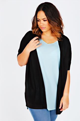 Black Longline Cardigan With Batwing Sleeves