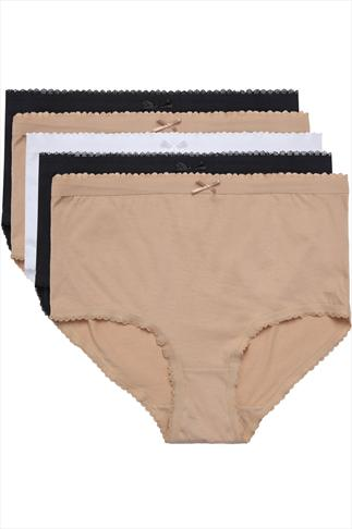 Black, Nude & White 5 Pair Pack Cotton Full Brief