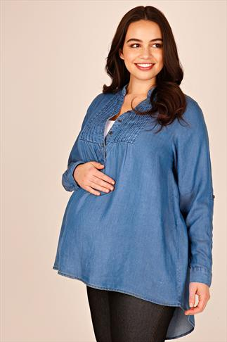 BUMP IT UP MATERNITY Blue Chambray Pintuck Top With Dipped Hem
