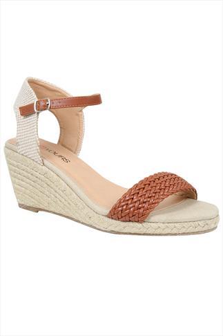 Tan Espadrille Wedge Sandal In EEE Fit