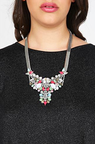 Bright Pink & Multi Stone Embellished Statement Necklace