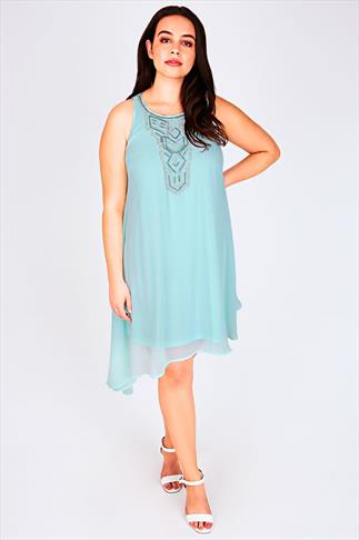 Mint Chiffon Sleeveless Tunic Dress With Asymmetric Hem