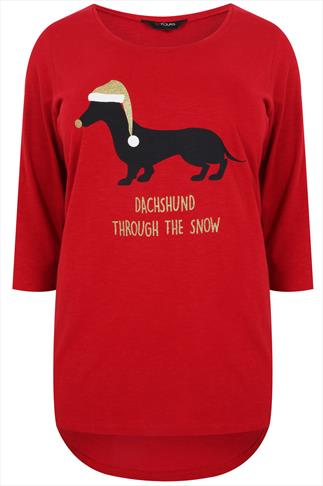 "Red Long Sleeve Top With ""Daschund Through The Snow"" Print"