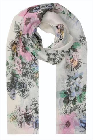Cream Bee And Butterfly Floral Scarf