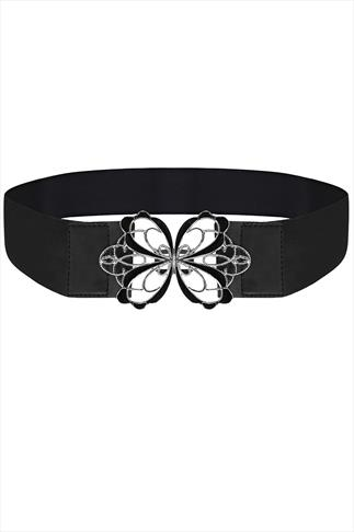 Black Stretch Waist Belt With Butterfly Clasp