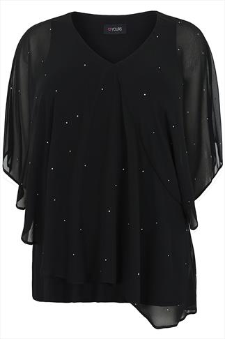 Black Chiffon Layered Top With Silver Gem Details