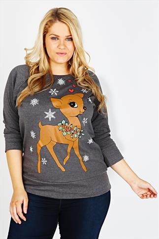 Charcoal Cute Deer Christmas  Print Sweat Top