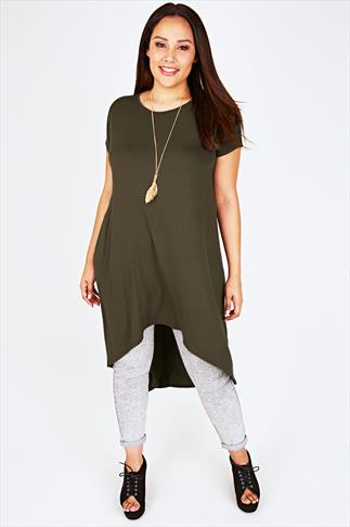 Khaki Oversized Tunic Dress With Extreme Dipped Hem