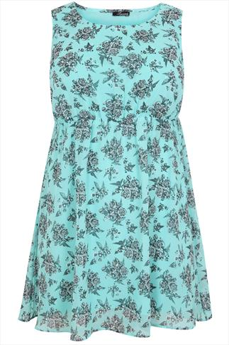 Mint Floral Print Skater Dress With Studded Detail
