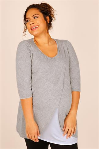 BUMP IT UP MATERNITY Grey Marl Nursing Wrap Front Jersey Top