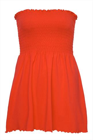 Orange Strapless Cotton Top