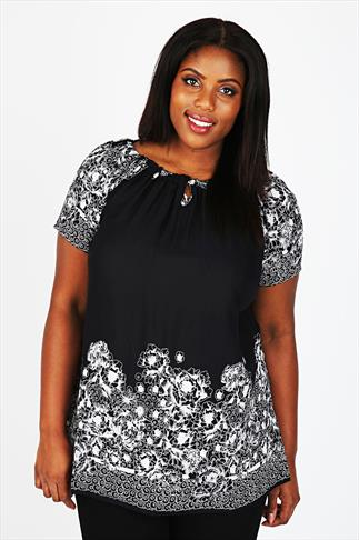 Black Floral Print Gypsy Blouse With Sequin Embellishment