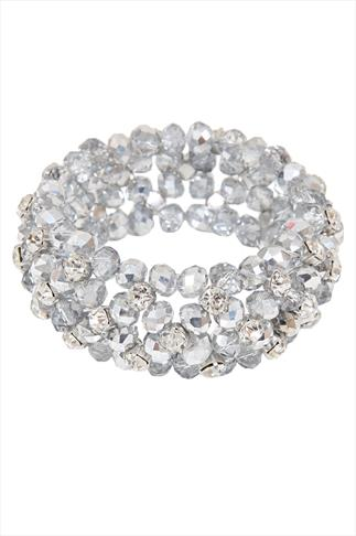 Silver Glass Bead & Diamante Cluster Stretch Bracelet