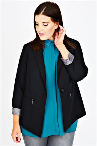 Black Single Button Jacket With Zip Buttons & Contrasting Lining
