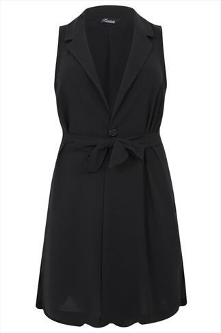 Black Sleeveless Longline Waistcoat With Tie