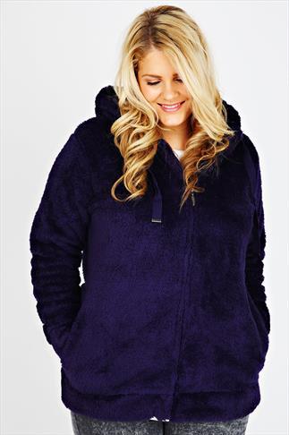 Purple Plain Fluffy Hooded Fleece With Zip